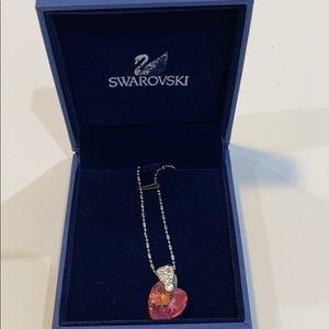 swarovski pink heart necklace